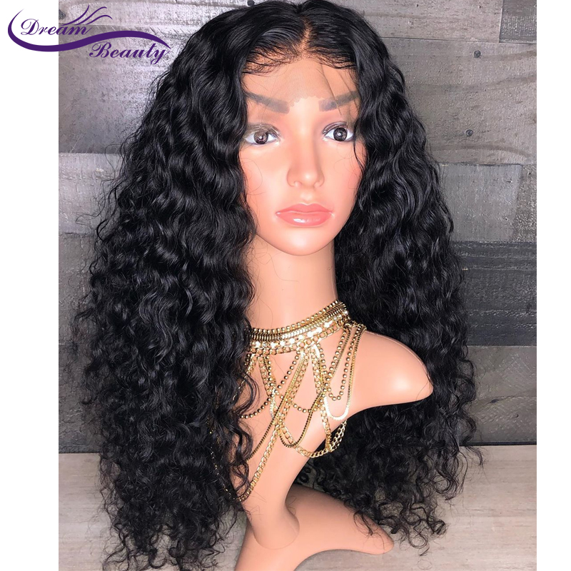 Image 2 - 150% Glueless Pre Plucked 13x4 Lace front Human Hair Wigs Curly Lace Wigs Brazilian Non Remy Human Hair Baby Hair Dream Beauty-in Human Hair Lace Wigs from Hair Extensions & Wigs