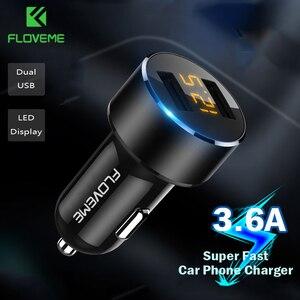 FLOVEME 18 Вт USB Автомобильное зарядное устройство для iPhone Xiaomi Мобильный телефон 3.6A быстрое зарядное устройство автомобильное зарядное устройс...