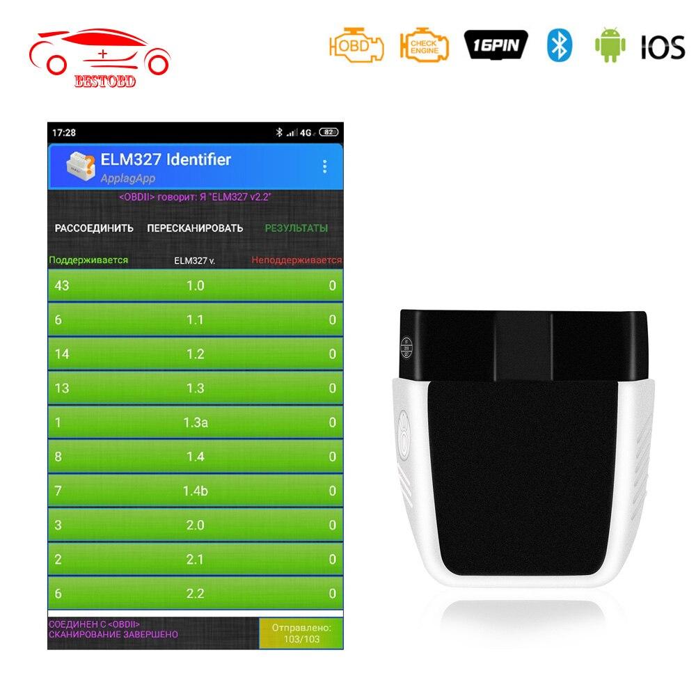 ELM327 V2.2 PIC18F25K80 OBD2 сканер Bluetooth 4,0 для IOS/Android OBD сканер лучше, чем elm 327 V 1 5 инструмент для диагностики автомобиля