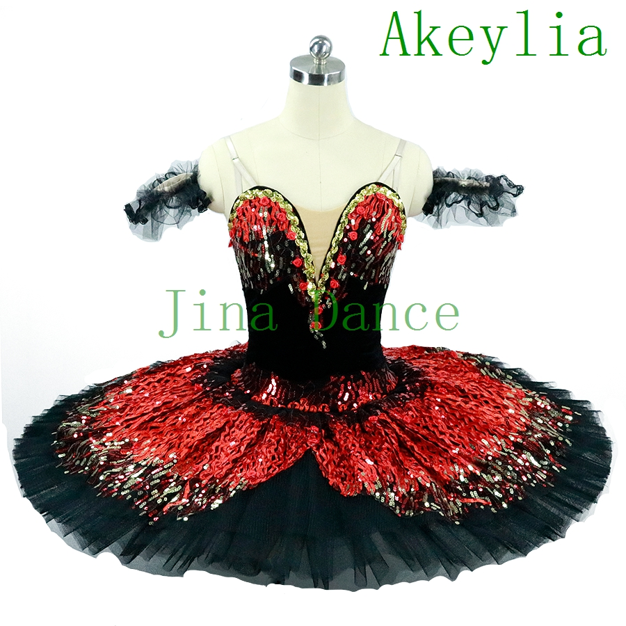 Black Red Professional Ballet Tutu For Competition Costume Fire Bird Adult Red Ballet Costumes Fairy Pancake Classical Tutu