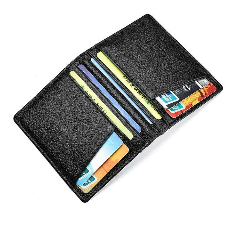 Супер тонкий мягкий бумажник из 100% натуральной кожи, мини-кошелек для кредитных карт, держатель для карт, мужской тонкий маленький бумажник
