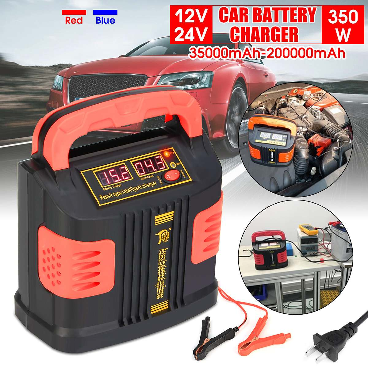 220V Portable Intelligent Charger Auto Motor Vehicle Charger 350W 14A Auto Adjust LCD Battery Charger Car Booster Jump Starter