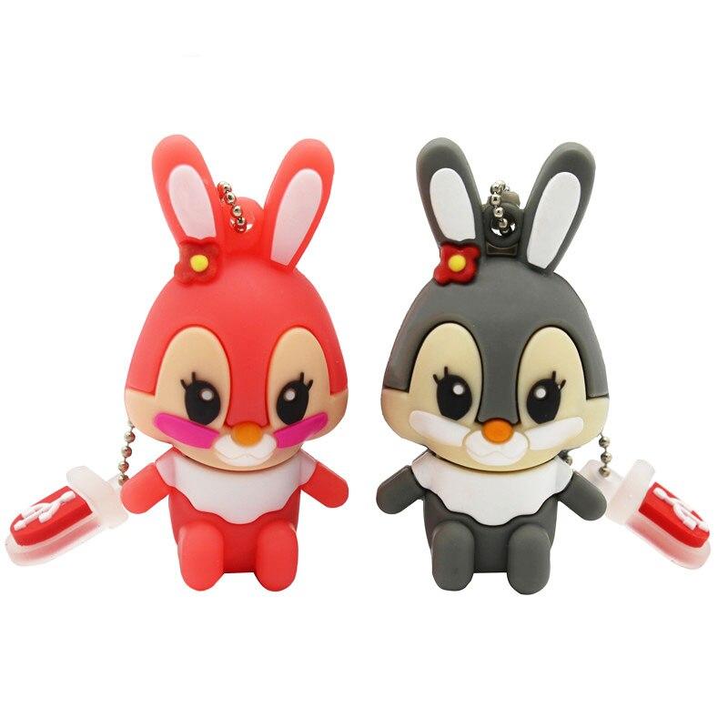 BiNFUL Usb Flash Drive Pen Drive Pink Memory Stick Gray Rabbit 8GB 16GB Pendrive