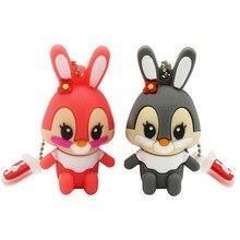 Metin usb flash sürücü kalem sürücü pembe bellek çubuğu gri tavşan 8GB 16GB pendrive