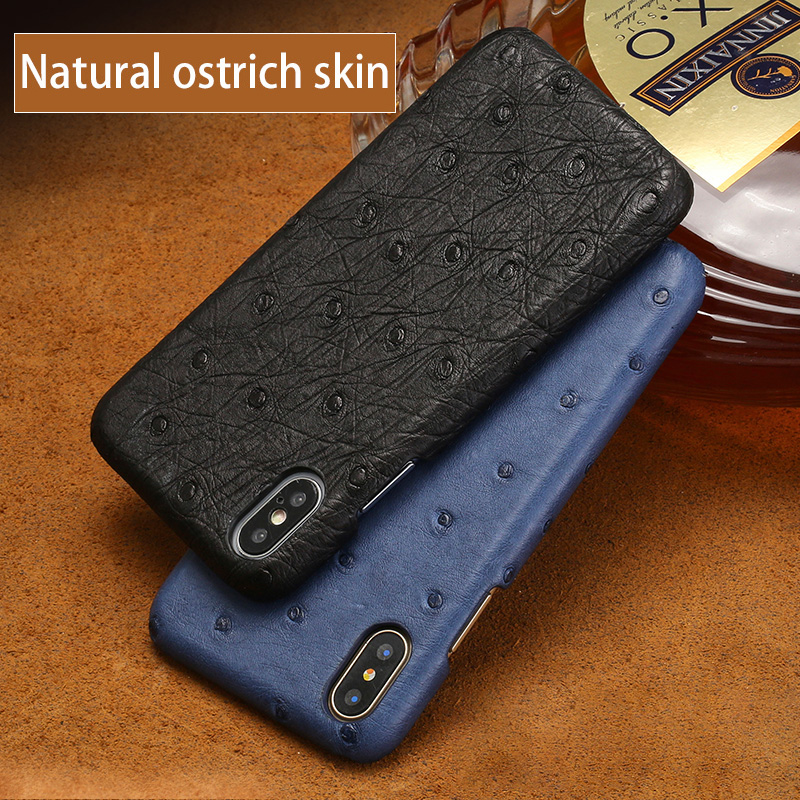 Luxury Genuine leather For iPhone 7P case High quality  Natural Ostrich skin back cover For iphone 7 6 6S Plus X XS MAX XR shell