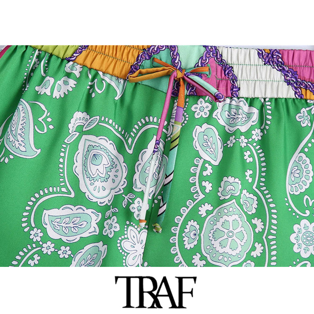 TRAF Women Chic Fashion Patchwork Printed Shorts Vintage High Elastic Waist With Drawstring Female Short Pants Mujer 3