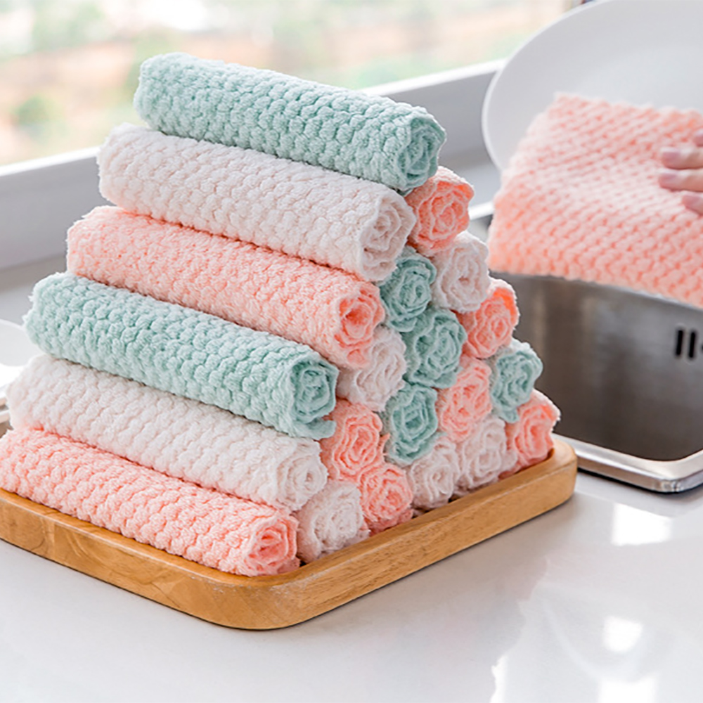 Dish-Cloth Cooking-Pineapple Kitchen Grid Home Rag Absorbent Microfibre Thickened Quick-Dry