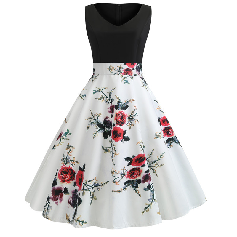 Casual Patchwork Sleeveless Print Dress Women Slim V Neck Floral Dress Ladies New Elegant Spring Summer Swing Party Dress