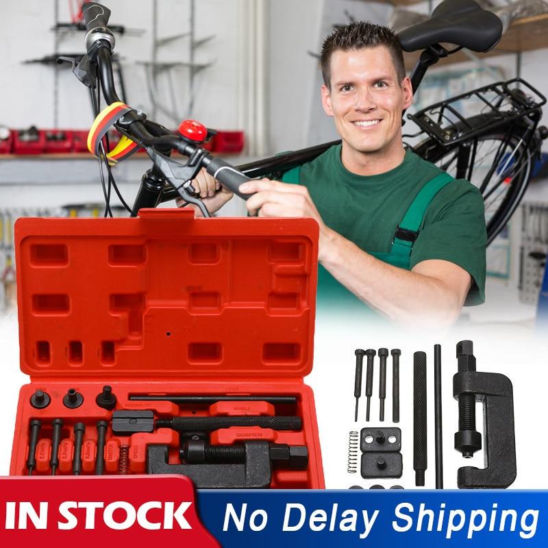 13Pcs Universal Motorcycle Bike ATV Chain Breaker Splitter Riveting Durable Tool Set Riveting Repair Kit Remover Chain Cutter