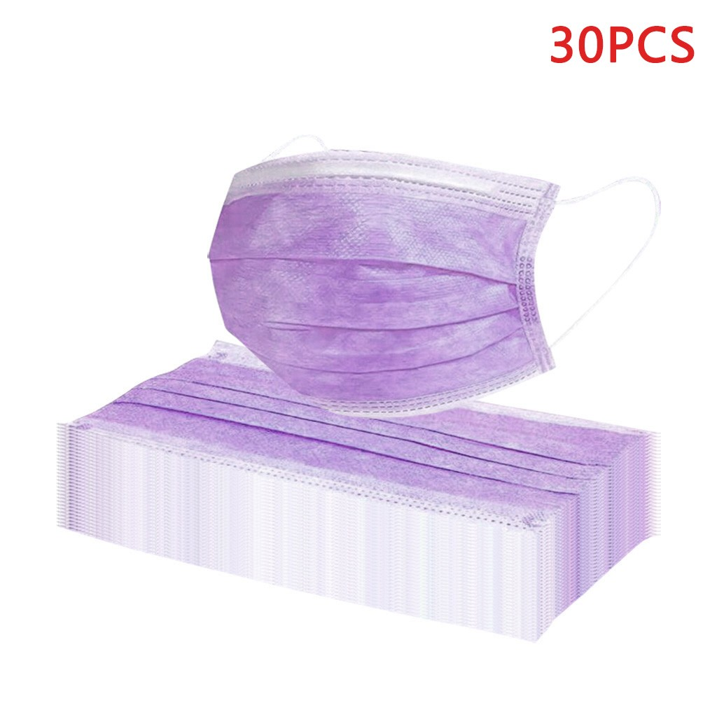 30 Pieces Disposable 3 Layers Non-woven Mouth Face Mask Prevent Anti-Dust Bacteria Face Mouth Masks Purple Mascarillas Maska