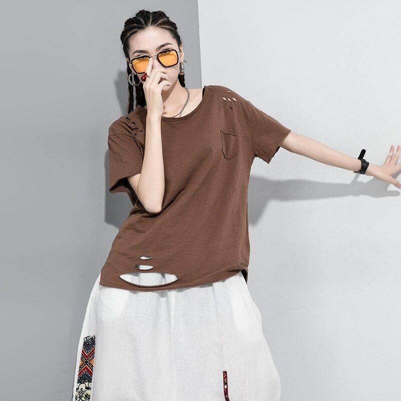 Lanmrem 2020 primavera verão novas chegadas o-pescoço manga curta retalhos bolsos moda feminina casual buraco camiseta aw50701