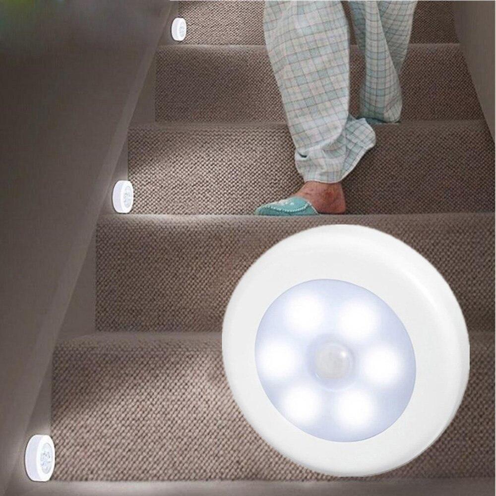 A raggi infrarossi PIR Sensore di Movimento 6 Ha Condotto La Luce di Notte Senza Fili Rilevatore di Luce Lampada Da Parete Luce Auto On/Off Armadio Batteria di alimentazione