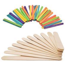 50 шт./лот, цветные деревянные палочки для мороженого, натуральные деревянные для мороженого, палочки для детей, рукоделие, искусство, мороженое, конфета на палочке, инструменты для торта