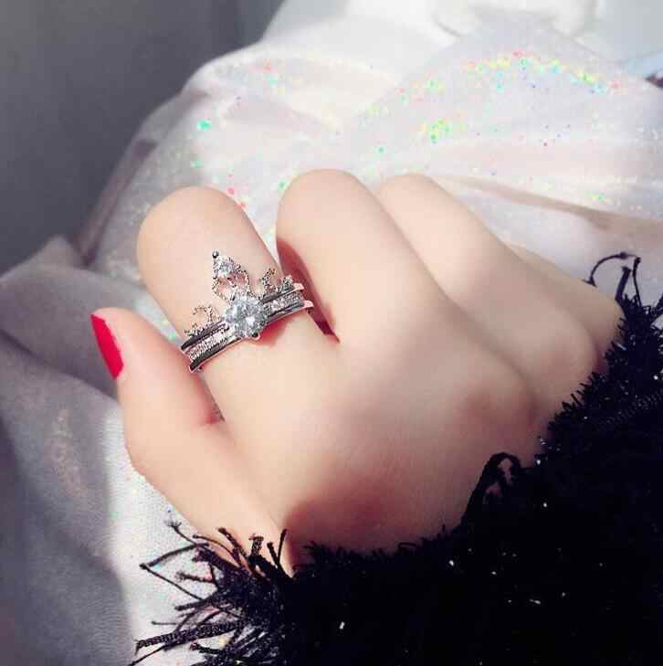 Fashion jewelry Silver and Gold women rings Crystal stone Wedding Ring opening adjustable Party Gift for girl Crown two-in-one
