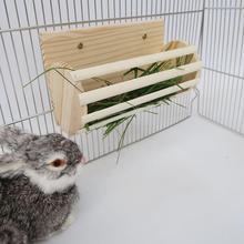 Małe zwierzęta akcesoria do klatek drewniane siano Manger trawa rama Pet Toy koryta podajnik dla królików chomik szynszyla świnki morskie tanie tanio FJ00344 see descriptions 9 84*4 72*5 91in about 360g natural pine chinchilla hamster squirrel rabbit