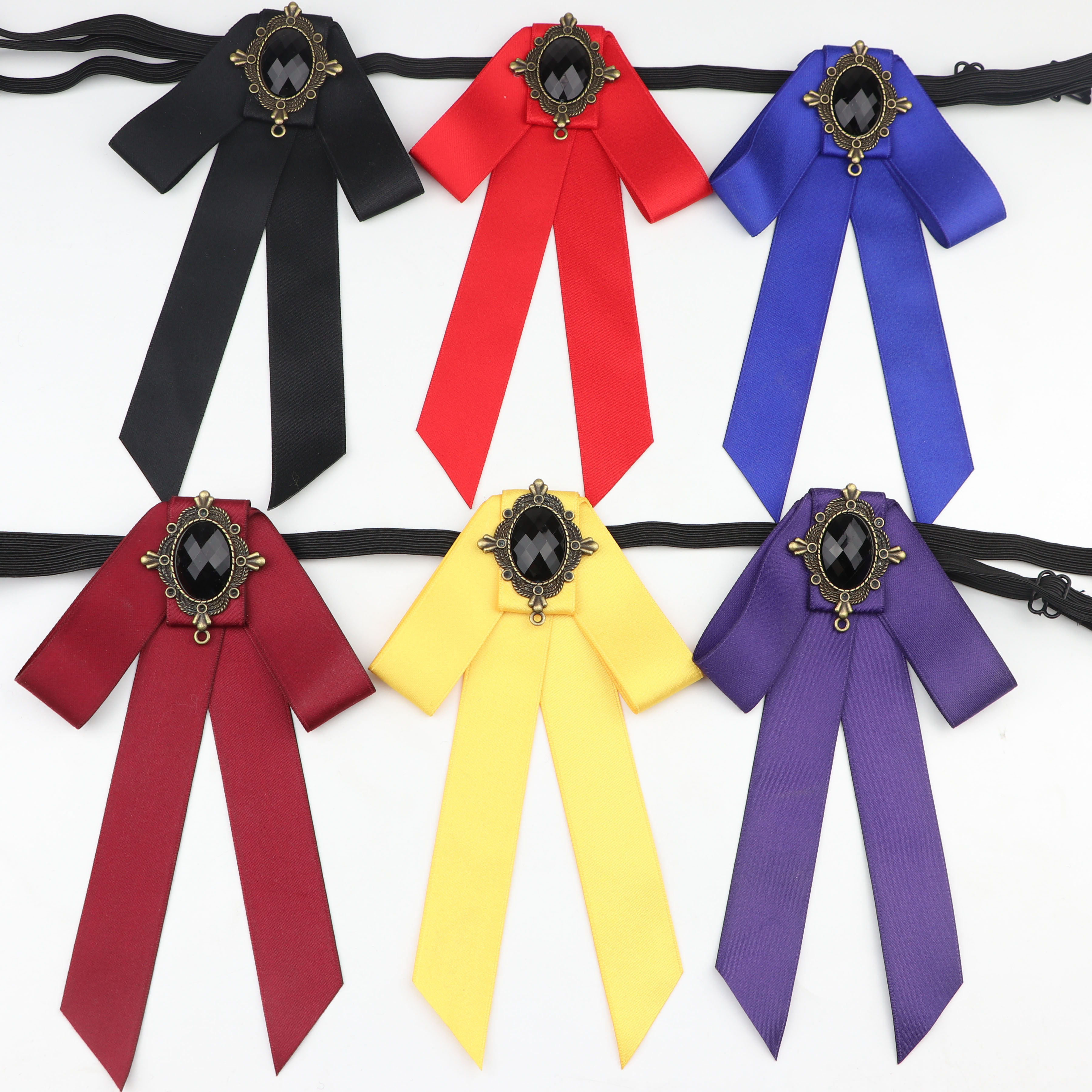 Woman Simple Bowtie Fashion Pretty Ribbon Solid Color Butterfly Bowknot Bow Tie Polyester Cravat Pin Lapel