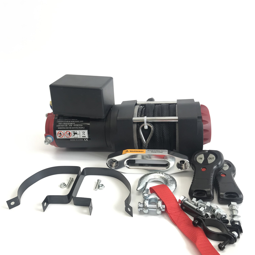 12v Electric Winch - 3000lb Dyneema Synthetic Rope - ATV ,Off Road BLACK Electric Winch