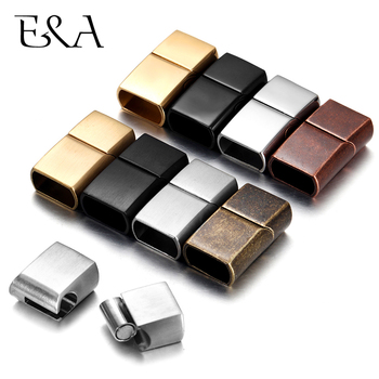 2Pcs Stainless Steel Magnetic Clasps Hole 12*6mm for Leather Cord Bracelet Magnet Clasp Buckle DIY Jewelry Making AccessorIes stainless steel magnetic clasp hole 6mm leather cord clasps magnet buckle diy bracelet closure supplies jewelry making findings