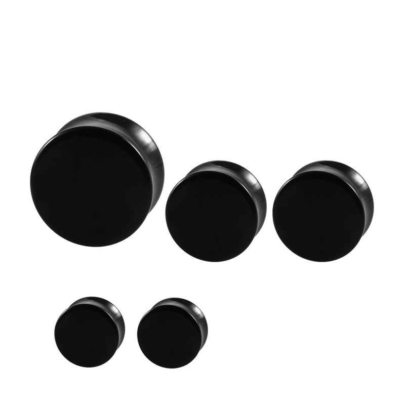 피어싱 Oreja 판매 1 쌍 검은 아크릴 귀 터널 및 플러그 게이지 더블 곡선 안장 확장기 들것 펑크 바디 쥬얼리