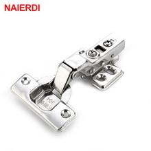 NAIERDI 4PCS C Series Stainless Steel Hinge Door Hydraulic Hinges Damper Buffer Soft Close For Cabinet Cupboard Door Furniture
