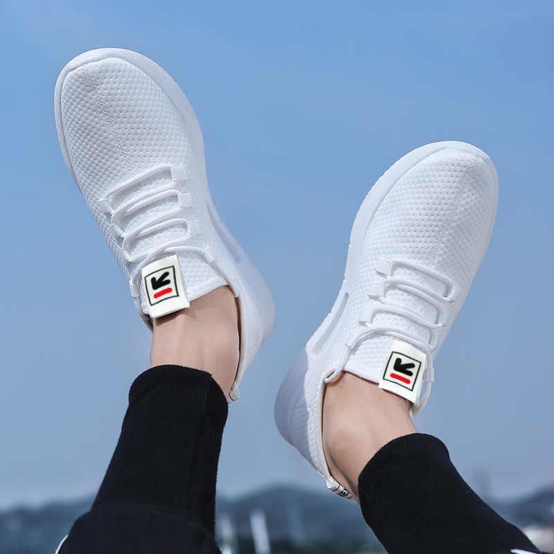 Saf renk açık rahat ayakkabılar file kumaş erkek ayakkabıları nefes yürüyüş koşu ayakkabıları boyutu erkek ayakkabıları 46 Zapatos De Hombre