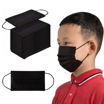 10/50/100 PCS Disposable Child Black Masks 3 Layers Filter Anti Dust Droplets Face Mouth Mask Mascarillas for 3-12 year Kids