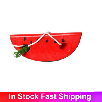 Educational Toys Fun Wooden Toy Worm Eat Apple/Watermelon/Pear Furit Early Learning Teaching Baby Gift For Kids