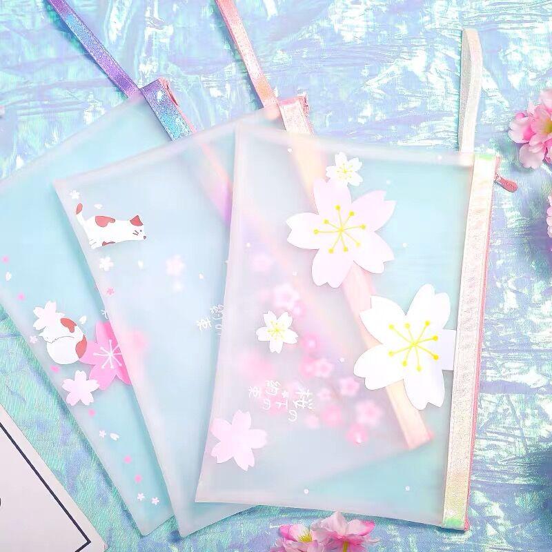 Sharkbang Pretty Cherry Blossoms Sakura Waterproof A4 File Folder Desktop Document Paper Organizer Storage Bag School Stationery