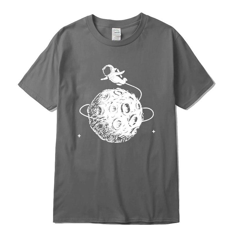 Men's t-shirt 100% cotton Funny astronaut print o-neck short sleeve designs men T-shirt casual summer loose men t shirt