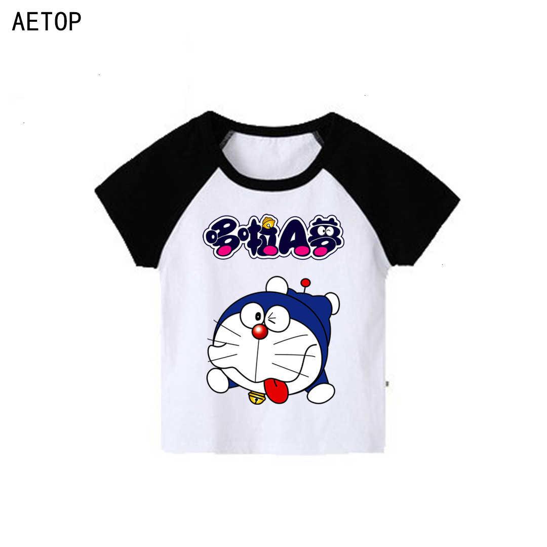 Venta al por mayor niños niñas manga corta splice color Doraemon camiseta niños cuello redondo Tops niños dibujos animados camiseta ropa de bebé