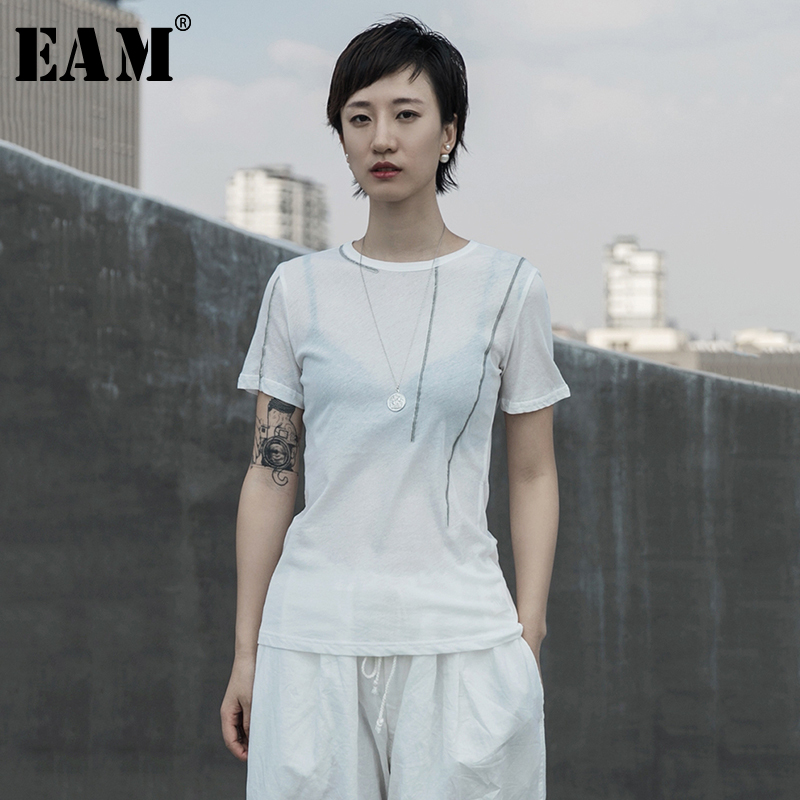 [EAM] Women White Linen Line Split Joint Thin T-shirt New Round Neck Short Sleeve  Fashion Tide  Spring Summer 2020 1T065