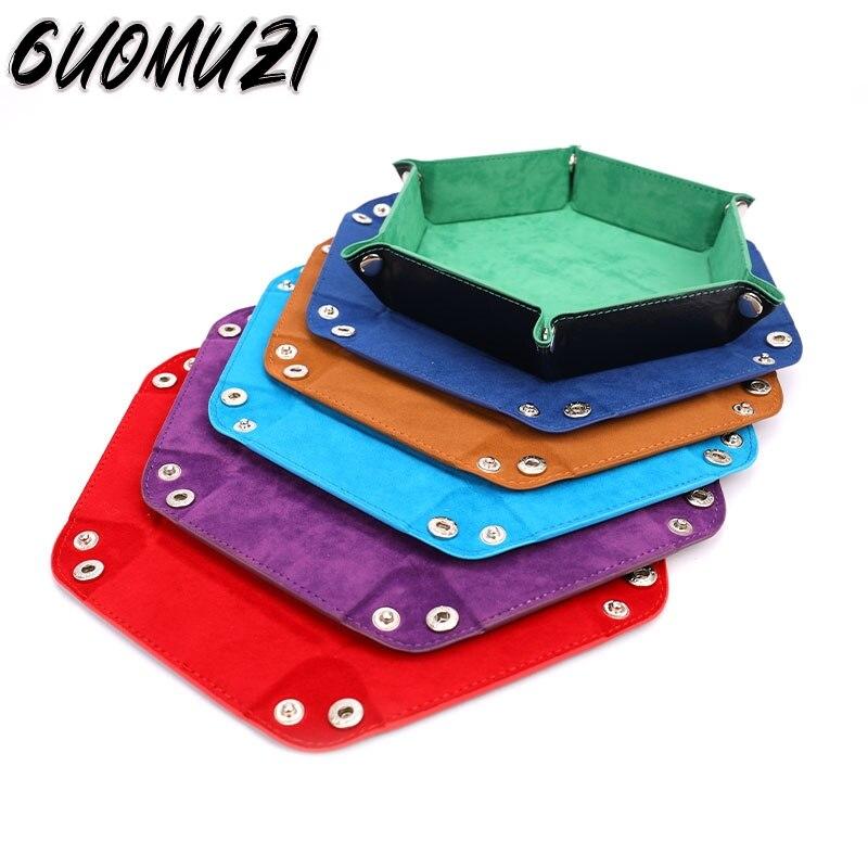 Novo dobrável bandeja de dados caixa de couro do plutônio dobrável hexágono moeda bandeja quadrada jogo dados 6 estilos