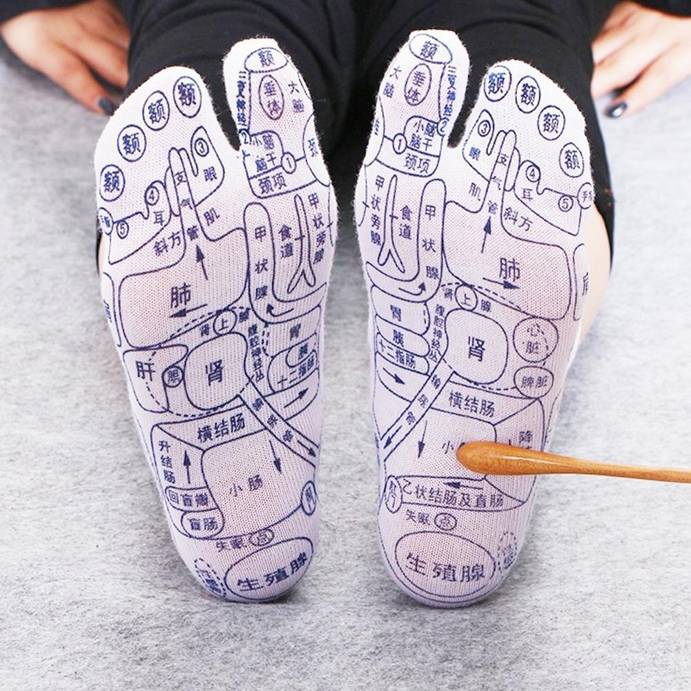 1 Pair Acupoints Illustration Foot Massage Socks Figure Novice Plantar Acupoint Massage Foot Massage Point Socks Foot Care Tool