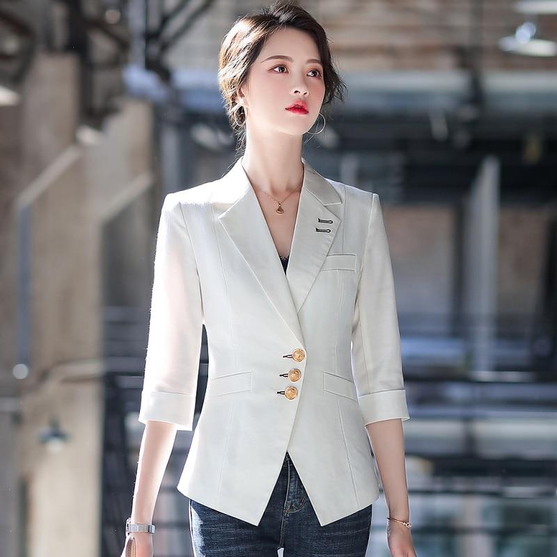 Women Blazers Summer Solid Color Jacket Half Sleeve Blazer & Suits Women 2063