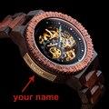 Персонализированные Customiz часы для мужчин BOBO BIRD деревянные автоматические часы Relogio Masculino OEM юбилейные подарки для него Бесплатная гравировк...