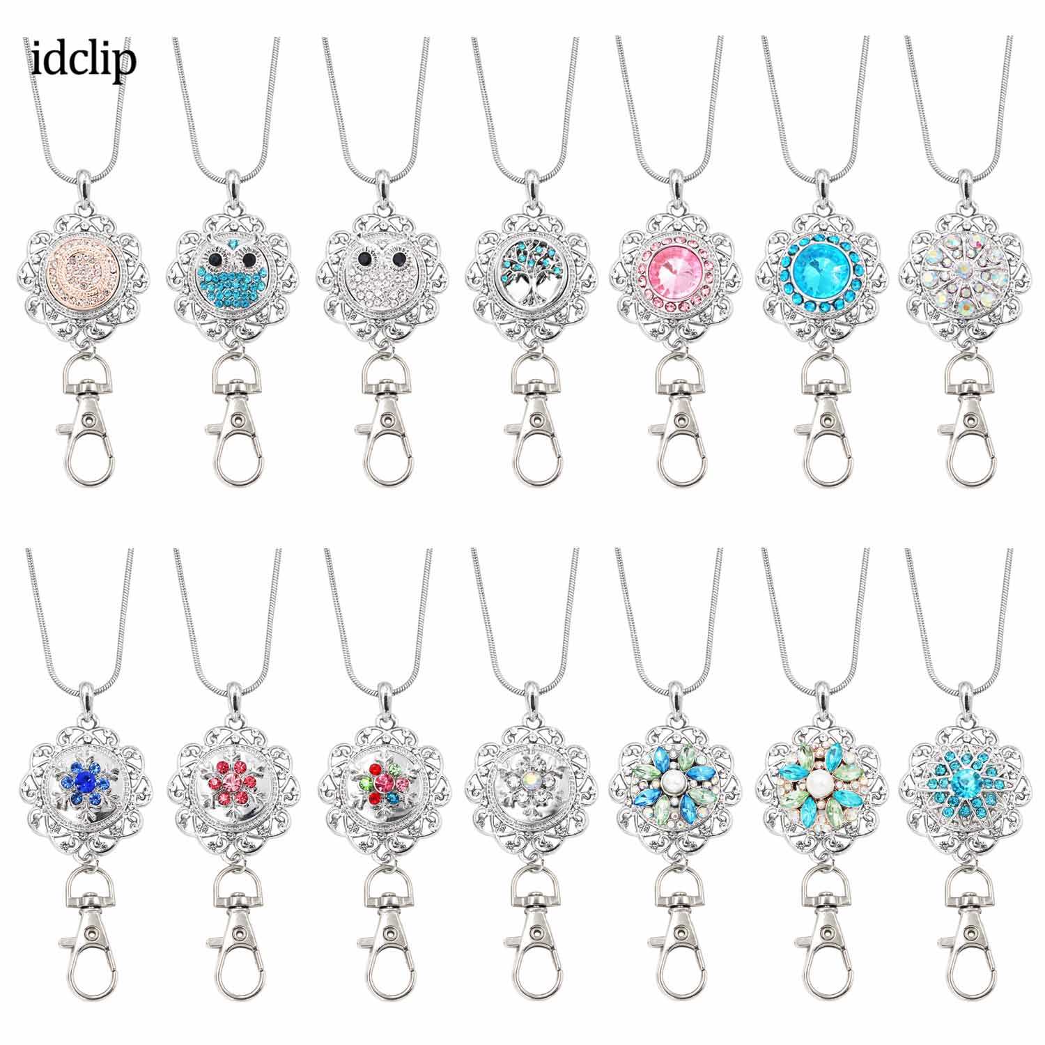 Idclip Flower Lanyard Badge Holder Necklace Snap Jewelry Charms Pendant Clip Office ID Holder