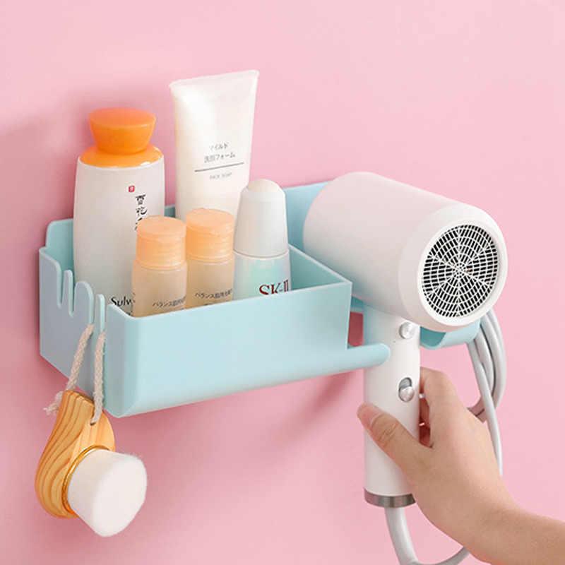 Creative Convenient Bathroom Wall Mounted Shelf With Hook Spiral Hair Dryer Holder Makeup Brush Comb Organizer Storage Rack