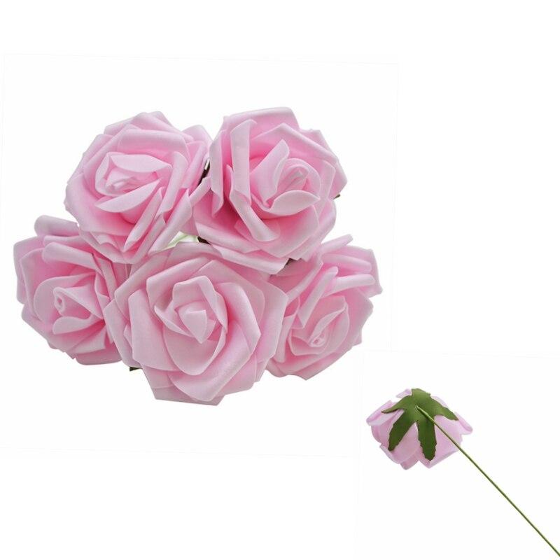 10 шт. 8 см большие ПЭ пенные цветы искусственные розы цветы Свадебные букеты Свадебные украшения для вечеринки DIY Скрапбукинг Ремесло поддельные цветы - Цвет: Light pink