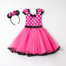 Minnie mouse vestido para meninas vestido de natal pontos sem mangas crianças vestidos de festa de aniversário bonito do bebê meninas traje enviar hairband