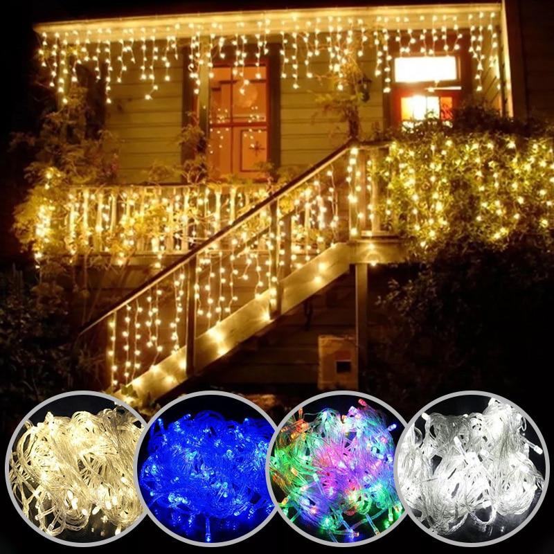 Luzes de natal cachoeira decoração exterior 5m droop 0.4-0.6m luzes led cortina corda luzes festa jardim beirais decoração