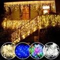 Рождественская гирлянда «Водопад», уличное украшение, 5 м, свисающая светодиодная гирлянда 0,4-0,6 м, гирлянда-занавеска, украшение для вечерни...
