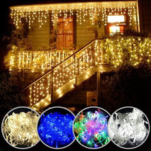 Weihnachten lichter wasserfall outdoor dekoration 5M droop 0,4-0,6 m led-leuchten vorhang string lichter party garten traufe dekoration