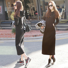 Long dress winter outside wearing long female Korean version thick sleeping clothes students