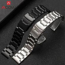 Ремешок сменный из нержавеющей стали для часов, металлическая складная Пряжка, однотонный браслет для наручных часов, 18 19 20 21 22 мм 23 мм 24 мм 25 ...