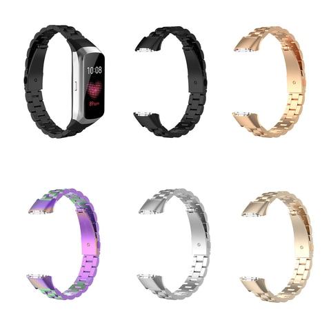 Medium Size Unisex for Samsung Galaxy Fit SM-R370 Watchband Smart Watch Three Beads Stainless Steel Strap Smartwatch Accessories Pakistan