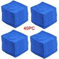 40 шт., голубые салфетки из микрофибры для чистки автомобиля, 30 х40 см