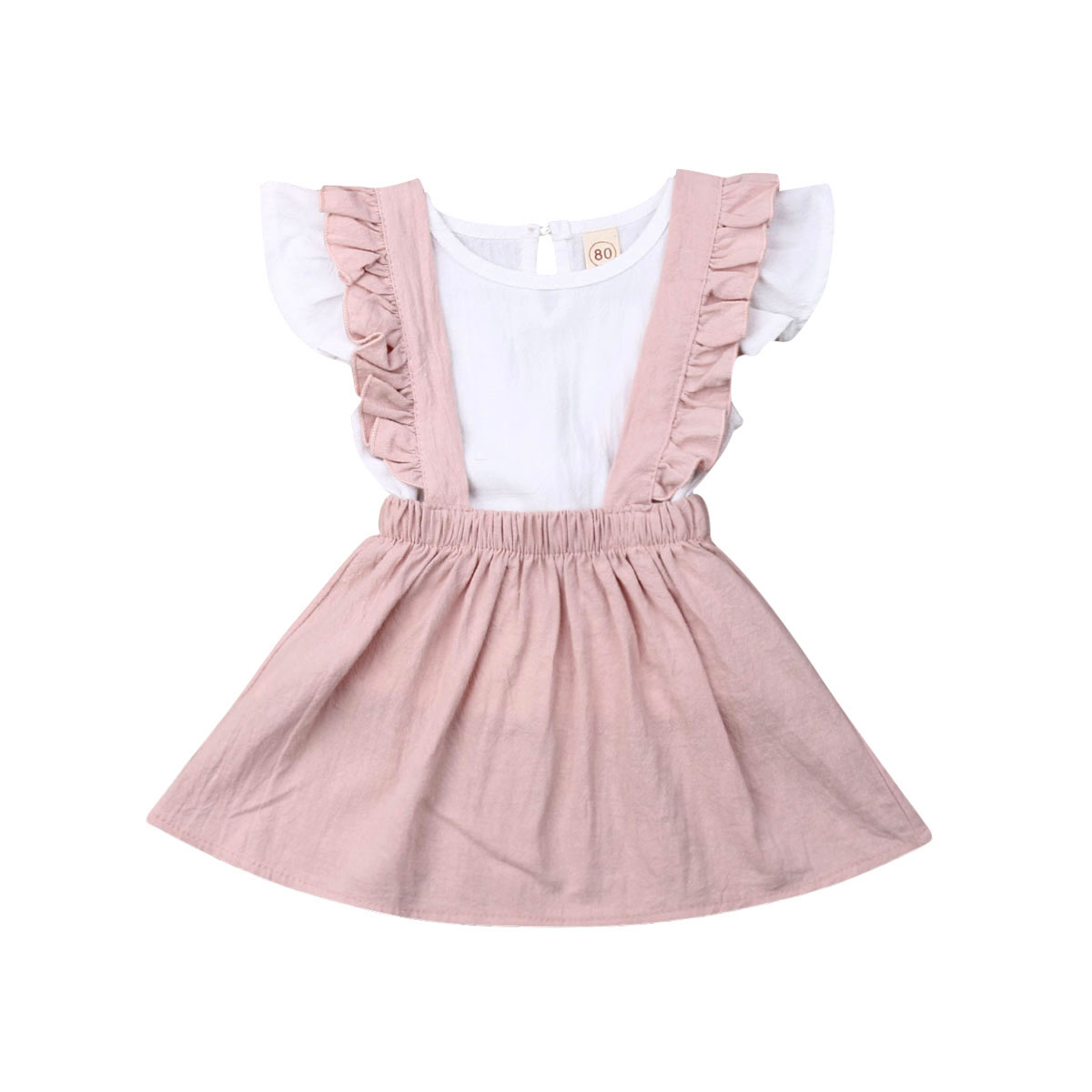 Pudcoco Toddler Kids Baby Girls Summer Cute Clothes Ruffle T-shirt Tops <font><b>Bibs</b></font> <font><b>Skirt</b></font> 2Pcs Kds Princess Outfits Set Holiday Clothes image