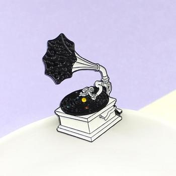 Women Men Cute Cartoon Retro Vinyl Gramophone Enamel Brooch Pin Badge Jewelry image