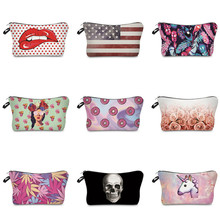 Vogvigo Printing Makeup Bags With Multicolor Pattern Cute Cosmetics Pouchs For Travel Ladies Pouch Women Cosmetic Bag