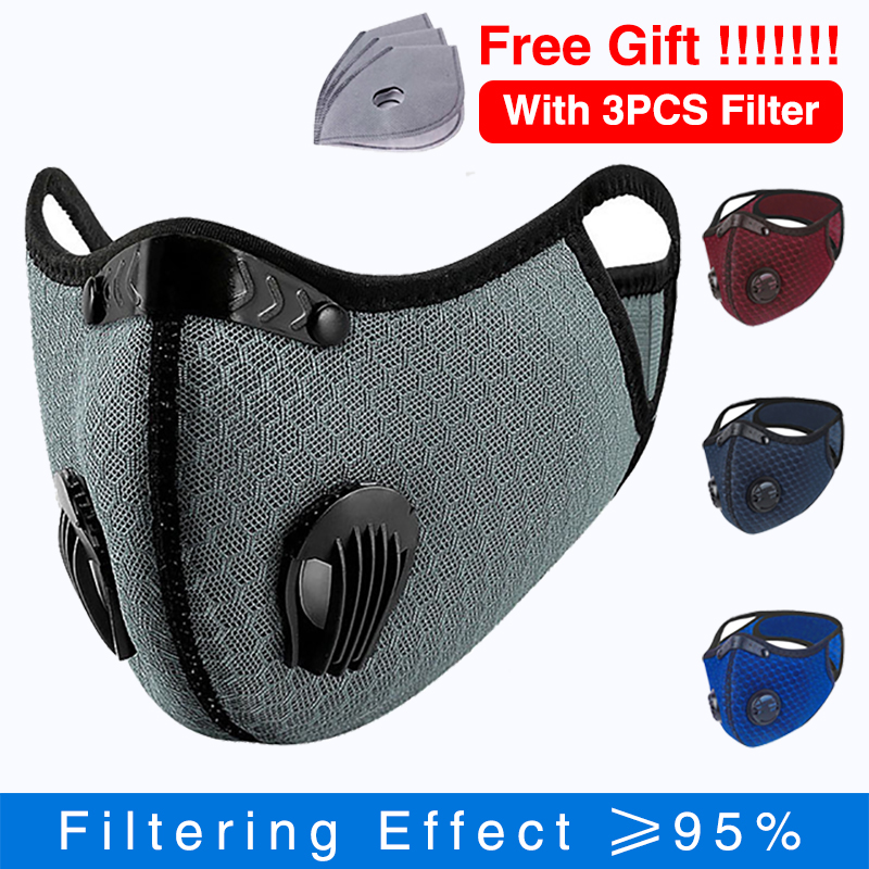 Respirator Face Mask With Filter PM 2.5 Anti Pollution Dustproof Mask Sport Cycling Facemask Outdoor Fpp3mask Fpp3 Nk95 Mask
